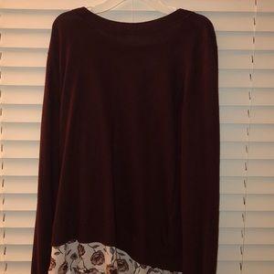 cute maroon floral long sleeve shirt